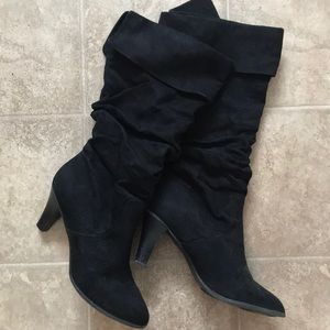 Shoes - Mid calf suede black boots